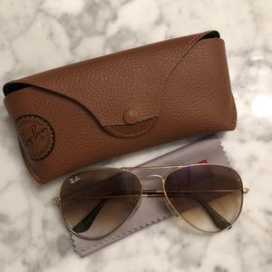 Ray Ban Aviators Gold/Brown 58mm